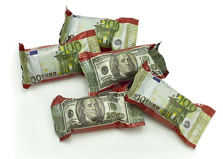 Five Chocolate with image of dollar banknote on candy wrapper photo