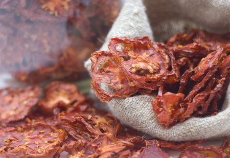 enough: Dried tomatoes got enough sleep from canvas bag