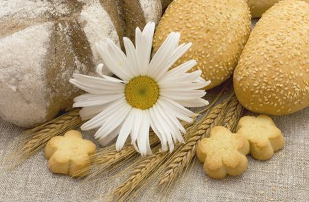Bread of  different kind and sunflowers
