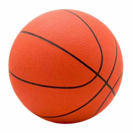 Ball for game in basketball of orange colour isolated on white background Stock Photo