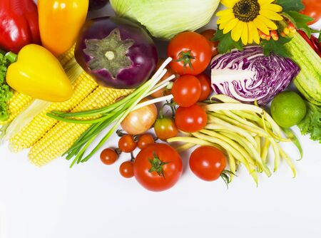 tomatoes, eggplants, vegetable marrows, pepper, string bean, onions, garlic and corn  Stock Photo