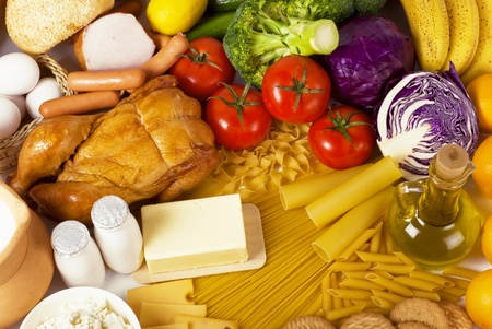 Overhead food background Stock Photo