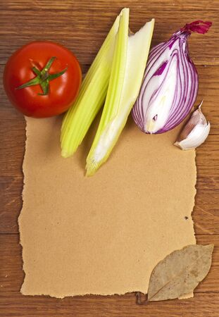 products on a wooden, paper surface photo