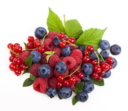 Currants, blueberries and raspberries photo