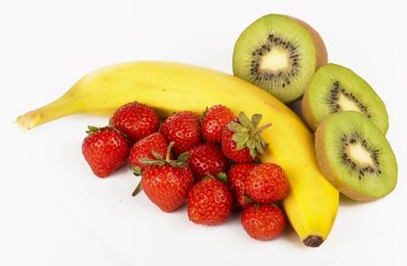 Strawberry, kiwi and banana Stock Photo
