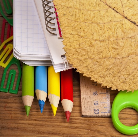 School office supplies on board. Stock Photo - 15088469