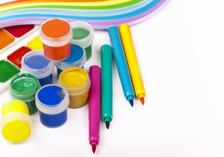 Water colour and gouache of paint and brush on white background Stock Photo - 17314433