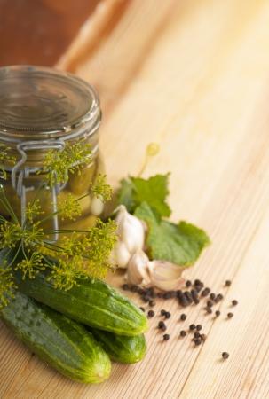 Tinned cucumbers of preparation Stock Photo