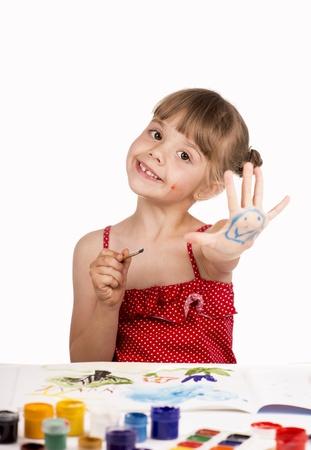 little girl draws paints Stock Photo - 20019294