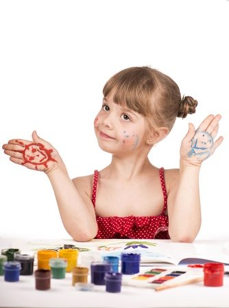 artist kid girl painting Stock Photo - 20019295