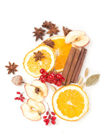 dried orange: Christmas spices and dried orange sliceson