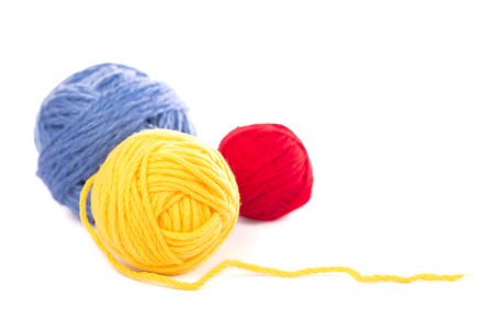 balls from wool - background Stock Photo