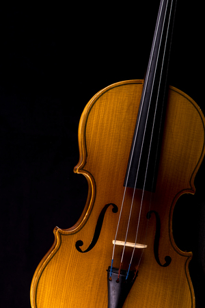 Details of violin closeup isolated on black