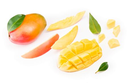 mango slice with green leaves isolated on white background. top view Stock fotó