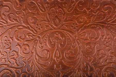 The Leather floral pattern background close up