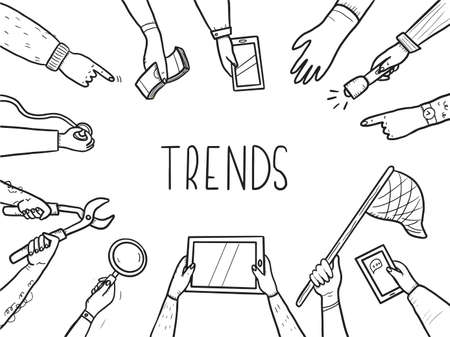 Hand drawn doodle style hands with different elements: tablet, magnifier, skip. Concept of chaze trend, marketing, search popular information, business seo. Vector illustration with text place.