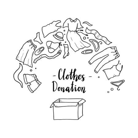 Hand drawn illustration of clothes donate, charity, care concept. Doodle sketch style elements of clothes, donation box for logotype, banner, icon design. Vector illustration.