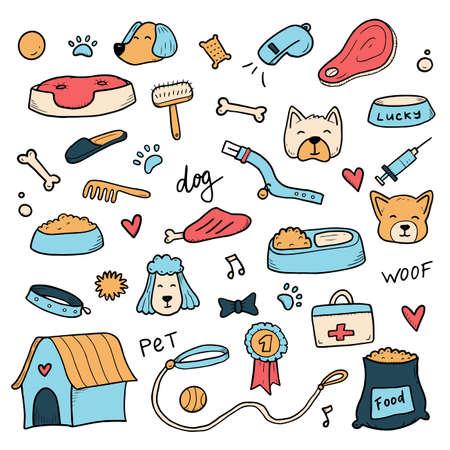 Dibujado a mano conjunto de elementos de accesorios para perros y mascotas, hueso, comida, correa. Para el diseño de temas caninos, adiestramiento, cuidado, aseo de un perro. Ilustración de vector de estilo de dibujo Doodle.
