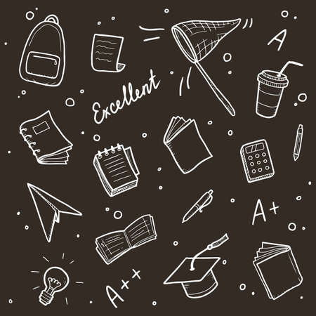 Hand drawn set of college, school study element and good grades. Concept of excellent grades, education, student, pupil study for bacground design. Doodle sketch style vector illustration.