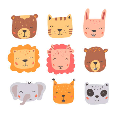 Set of cute wild animals faces, bear, deer, panda, rabbit, fox. Isolated vector illustration animals for baby, kids, child project design. Hand drawn cute style.