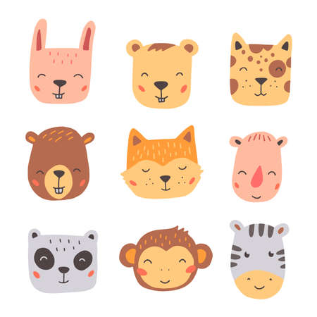 Set of cute wild animals faces, bear, monkey, panda, rabbit, fox. Isolated vector illustration animals for baby, kids, child project design. Hand drawn cute style. Banque d'images - 140673041