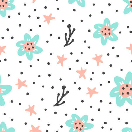 Seamless pattern of simple flowers for textile pattern, wallpaper design.