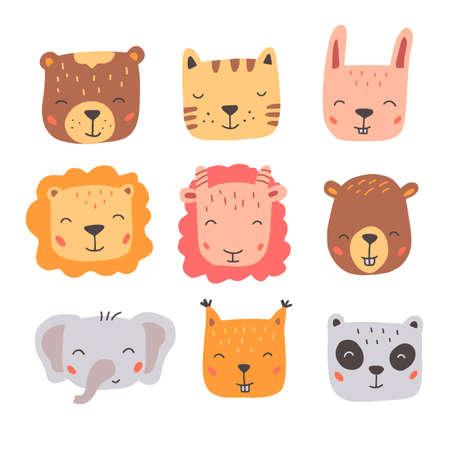 Set of cute wild animals faces, bear, lion, panda, rabbit, fox. Ilustración de vector