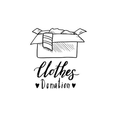 Hand drawn illustration with donation box and lettering text. Concept of clothes donate, charity, care concept. Doodle sketch style elements of clothes for logotype, banner, icon design. Vector illustration. Ilustrace