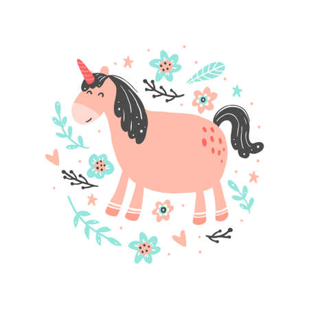Unicorn of simple trendy cartoon style with elements. Unicorn of pink color for kids and magic textile, bag, t-shirt design. Isolated vector illustration.