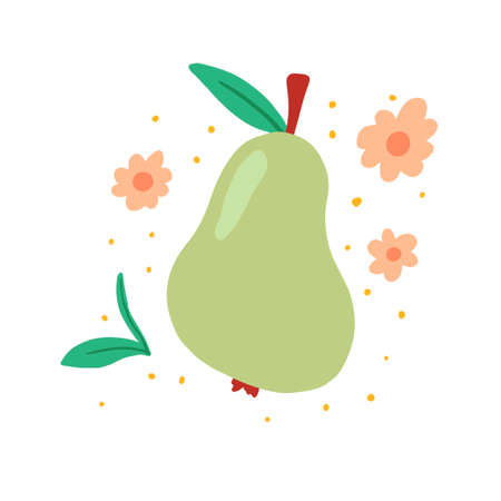 Pear of green color with leaf and flowers.. Cartoon hand drawn style. Isolated pear for fresh fruit, organic food, natural eat concept design. Vector illustration.