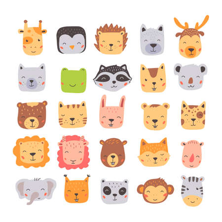 Big set of cute wild animals faces, bear, deer, panda, rabbit, fox. Isolated vector illustration animals for baby, kids, child project design. Hand drawn cute style. Banque d'images - 140604548
