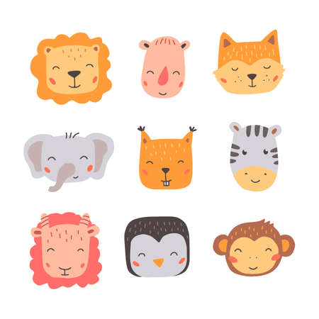 Set of cute wild animals faces, monkey, penguin, zebra, lion, fox. Isolated vector illustration animals for baby, kids, child project design. Hand drawn cute style. Stock Illustratie