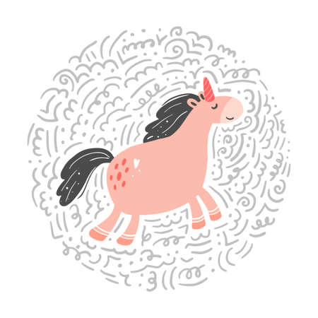 Unicorn of simple trendy cartoon style with elements. Unicorn of pink color for kids and magic textile, bag, t-shirt design. Isolated vector illustration. Ilustração