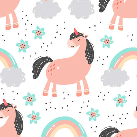 Unicorn seamless pattern of simple trendy cartoon style. Unicorn, magic horse, pony for kids and magic textile, walppaper, fabric design. Isolated vector illustration. Ilustração