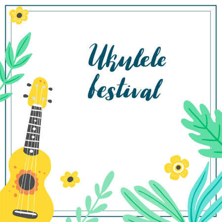 Cartoon ukulele with lettering text for summer, music poster template design. Small guitar with tropic leaf, floral decoration of hawaii style. Vector illuatration of hand drawn style.