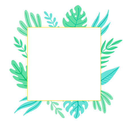 Tropical summer leaf frame for text border, greeting card, poster design. Exotic floral decoration of hawaii style. Vector illuatration of trendy style. 向量圖像