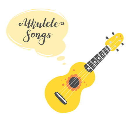 Cute cartoon ukulele for summer poster, card design with lettering text Ukulele songs. Little guitar, string music instrument of hawaii style. Vector illuatration of simple hand drawn style.