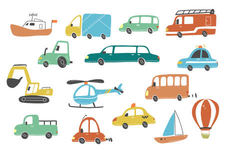 Set of cartoon cute kids and toy style cars and other transport, truck, taxi, police car, fire truck, ship, helicopter, excavator, bus. Isolated vector illustration.