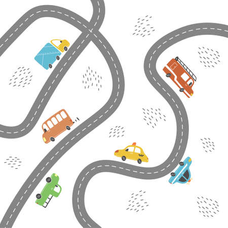 Cartoon cute kids map with car, road, city landscape elements. Cars, building, road of hand drawn, children toy style. Vector illustration.