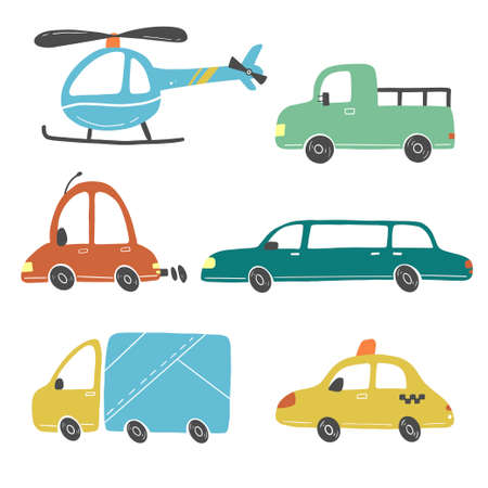 Set of cartoon cute kids and toy style cars and other transport, truck, taxi, fire truck, ship, excavator, bus, air balloon. Isolated vector illustration. Stock Illustratie