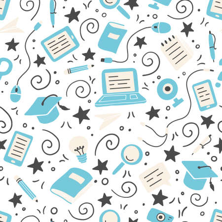 Hand drawn seamless pattern of online education elements, laptop, pencil, book. Doodle sketch style. Vector illustration for e-learning, science, school, knowledge concept design. Иллюстрация