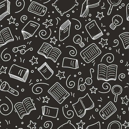 Hand drawn seamless pattern of book doodle elements, education symbols. Vector illustration for book store, reading club, learning, library wallpaper, texture concept design. Doodle sketch style. Иллюстрация