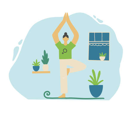 Woman relax in yoga pose on the home quarantine. Stay home, social distance, meditation, postive rest, yoga, coronavirus protect concept design. Flat design cartoon woman. Vector illustration.