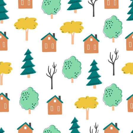 Seamless pattern of childish cartoon town, city with tree and building for fabric, wallpaper, background design. Cute baby, child vector illustration.