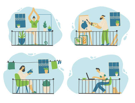 Set of people character on the quarantine. Stay home, social distance, online work, postive rest, yoga, book reading, coronavirus protect concept design. Flat design people. Vector illustration.