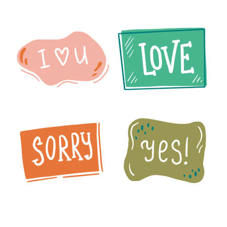 Hand drawn set of speech bubbles with dialog text. Comic doodle sketch style. Text and speech balloon element of color. Vector illustration for icon design.