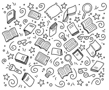 Hand drawn set of book doodle elements, e-book, lamp, education symbols. Cut isolated vector illustration for book store, reading club, learning, library banner concept design. Doodle sketch style.