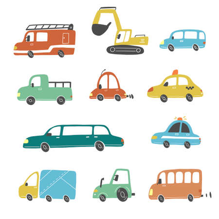 Set of cartoon cute kids and toy style cars and other transport, truck, taxi, fire truck, ship, excavator, bus, air balloon. Isolated vector illustration. Çizim