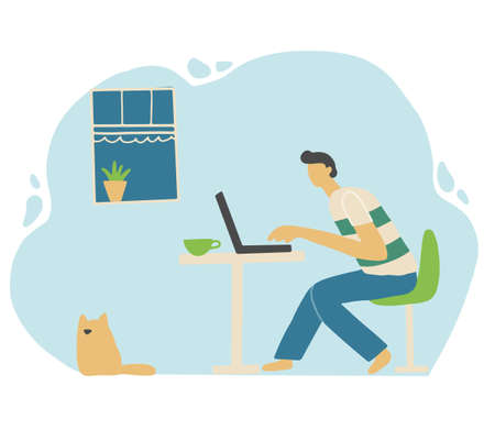 Man with laptop work on the home quarantine. Stay home, social distance, postive rest, online work, coronavirus protect concept design. Flat design cartoon man. Vector illustration.