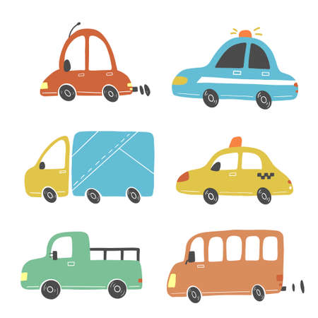 Set of cartoon cute kids and toy style cars and other transport, truck, taxi, fire truck, ship, excavator, bus, air balloon. Isolated vector illustration. Vettoriali